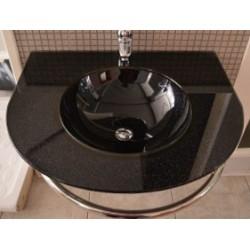 Νιπτήρας  Μαύρος Γυαλί 70x60