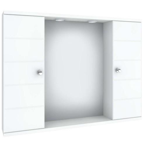 Καθρέπτης με διπλό ντουλάπι και σποτ 75x15x57 5KCP075WH